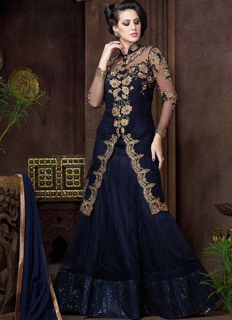 0b66063bd0 Navy Blue Embroidery Work Net Designer Fancy Lehenga Style Long Anarkali  Suit