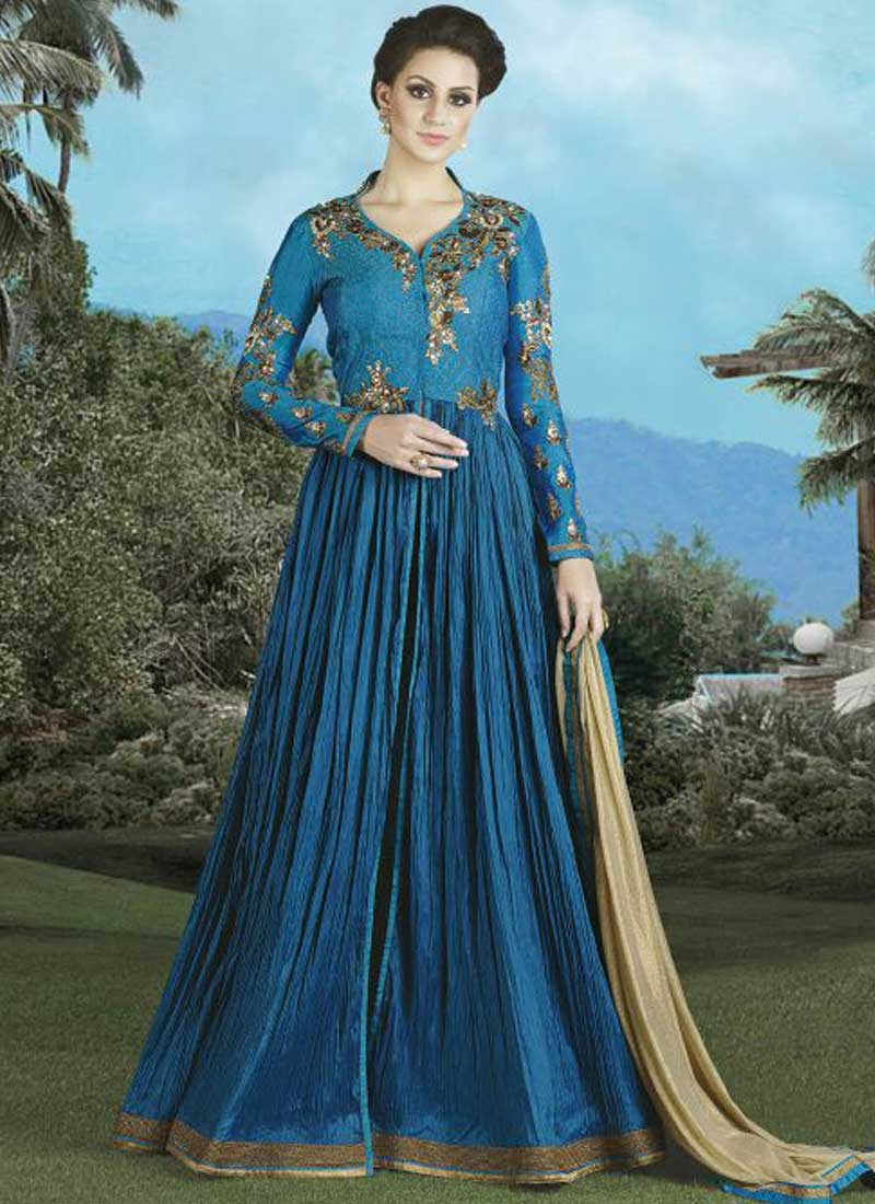 Blue Embroidery Work Silk Brocade Designer Anarkali Long Fancy ...
