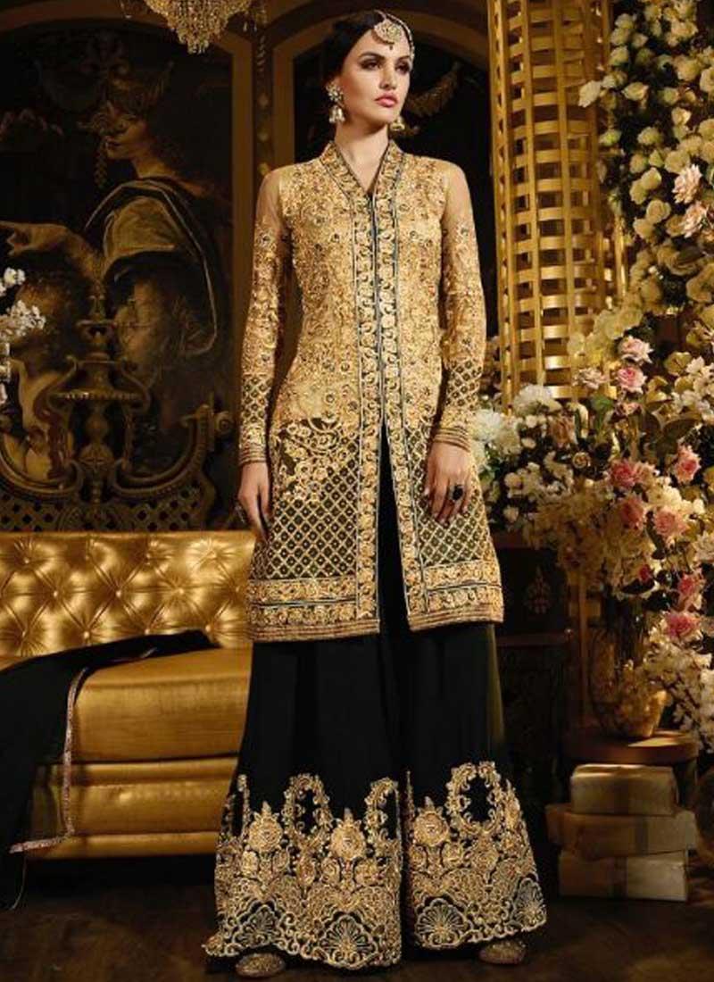 394b518984 Beige Black Embroidery Work Georgette Net Pakistani Wedding Suit ...