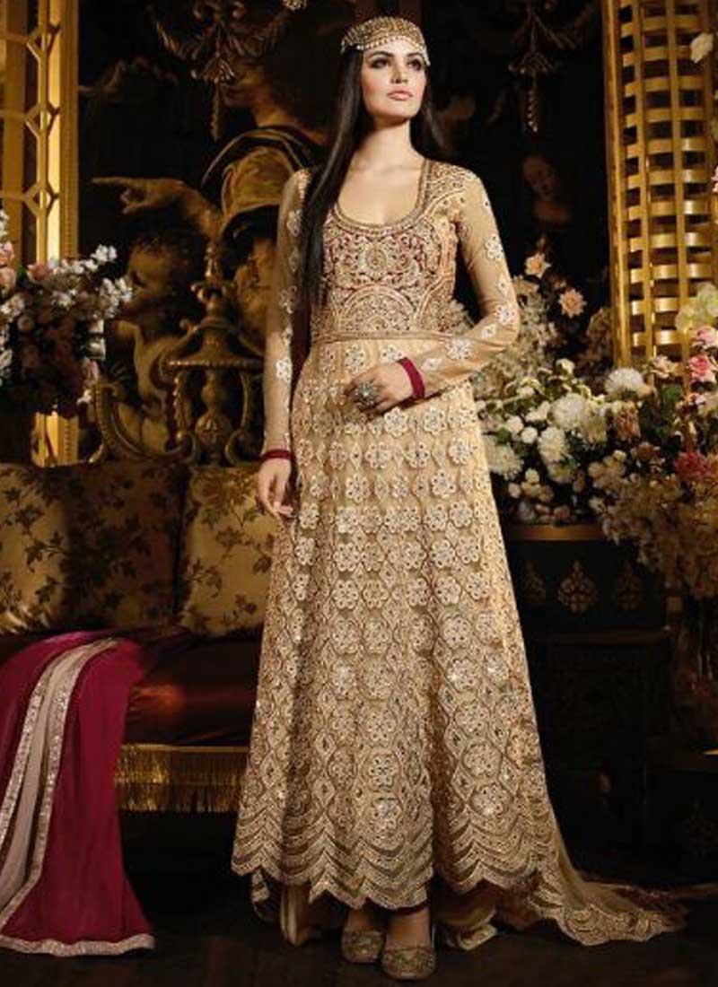 Pink Beige Embroidery Work Net Banarasi Silk Wedding Anarkali Suit