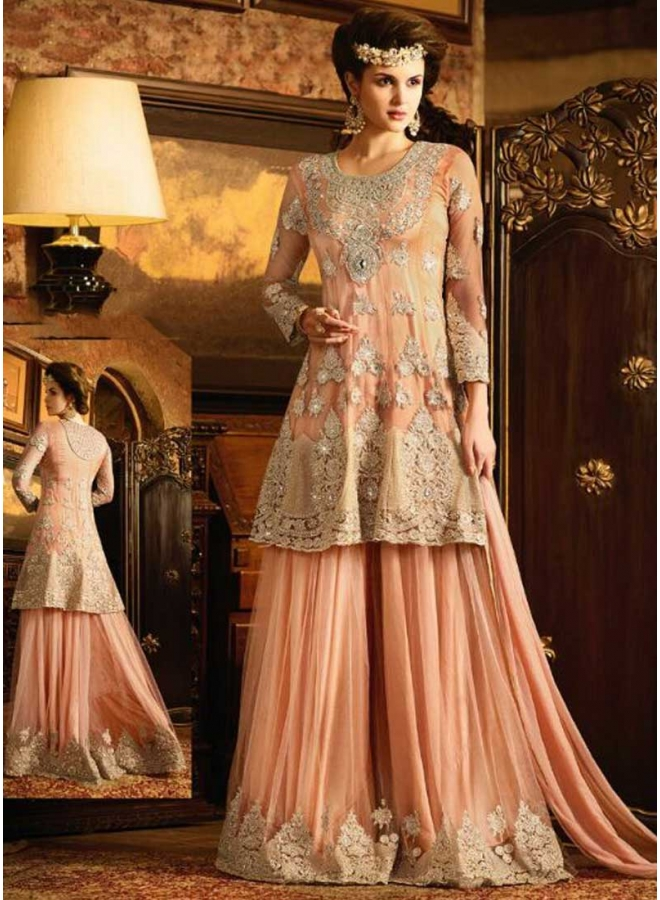 f23bae69fe Peach Embroidery Work Net Satin Designer Wedding Pakistani Palazzo Suit