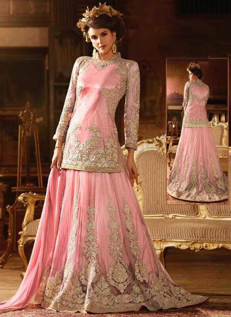 9b29a06821 Pink Embroidery Work Net Satin Designer Long Fancy Lehenga Wedding Anarkali  Suit