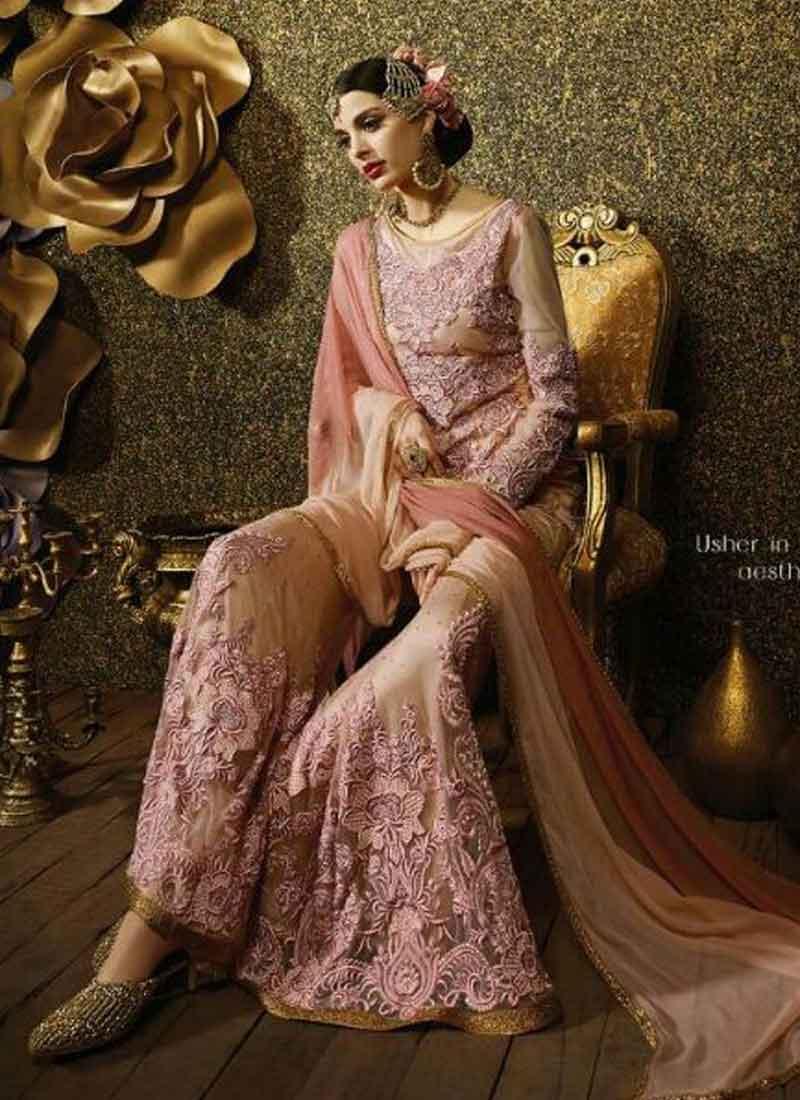 59daeff332 Party Wear Peach Embroidery Heavy Thread Work Net Designer Anarkali Salwar  Suit