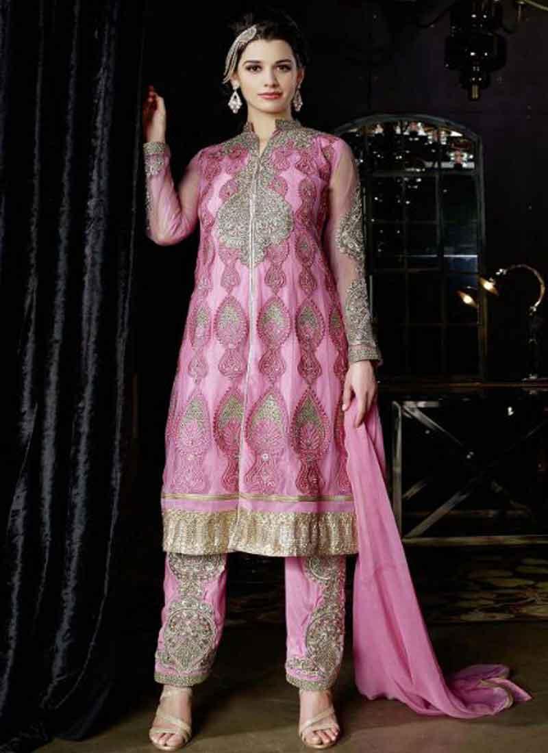 Precious Pink Embroidery Work Net Santoon Pakistani Wedding Suit ...