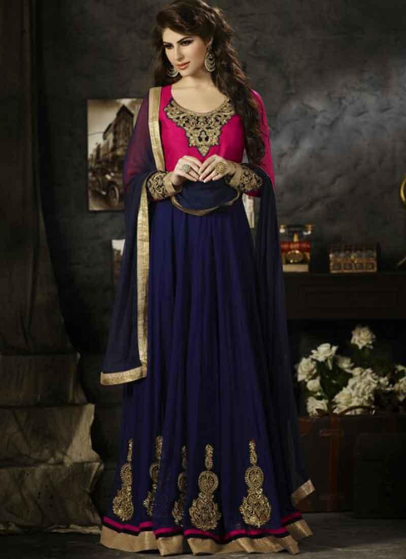 10e8818395 Navy Blue Magenta Embroidery Work Velvet Georgette Anarkali Suit ...