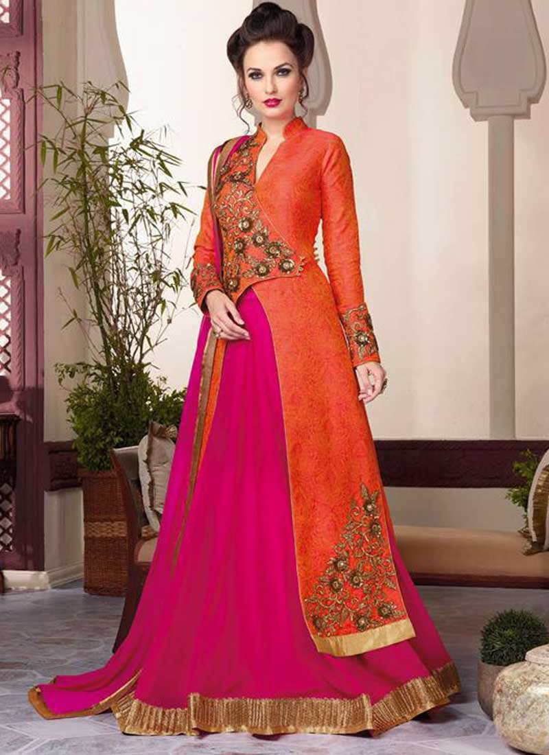 ec492ae077 Orange And Pink Embroidery And Stone Work Jacquard Lehenga Style Anarkali  Suit