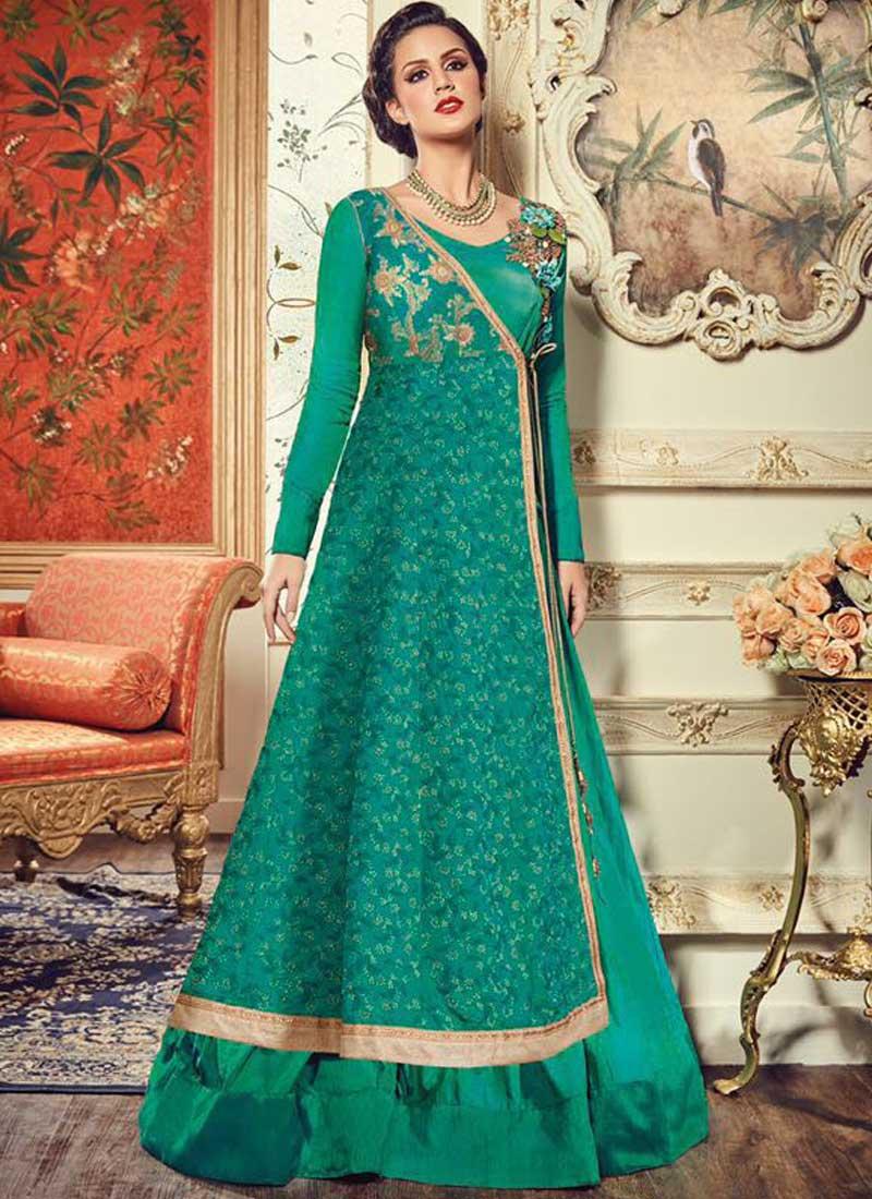 Sea Green Embroidery Work Silk Designer Long Fancy Wedding Anarkali ...
