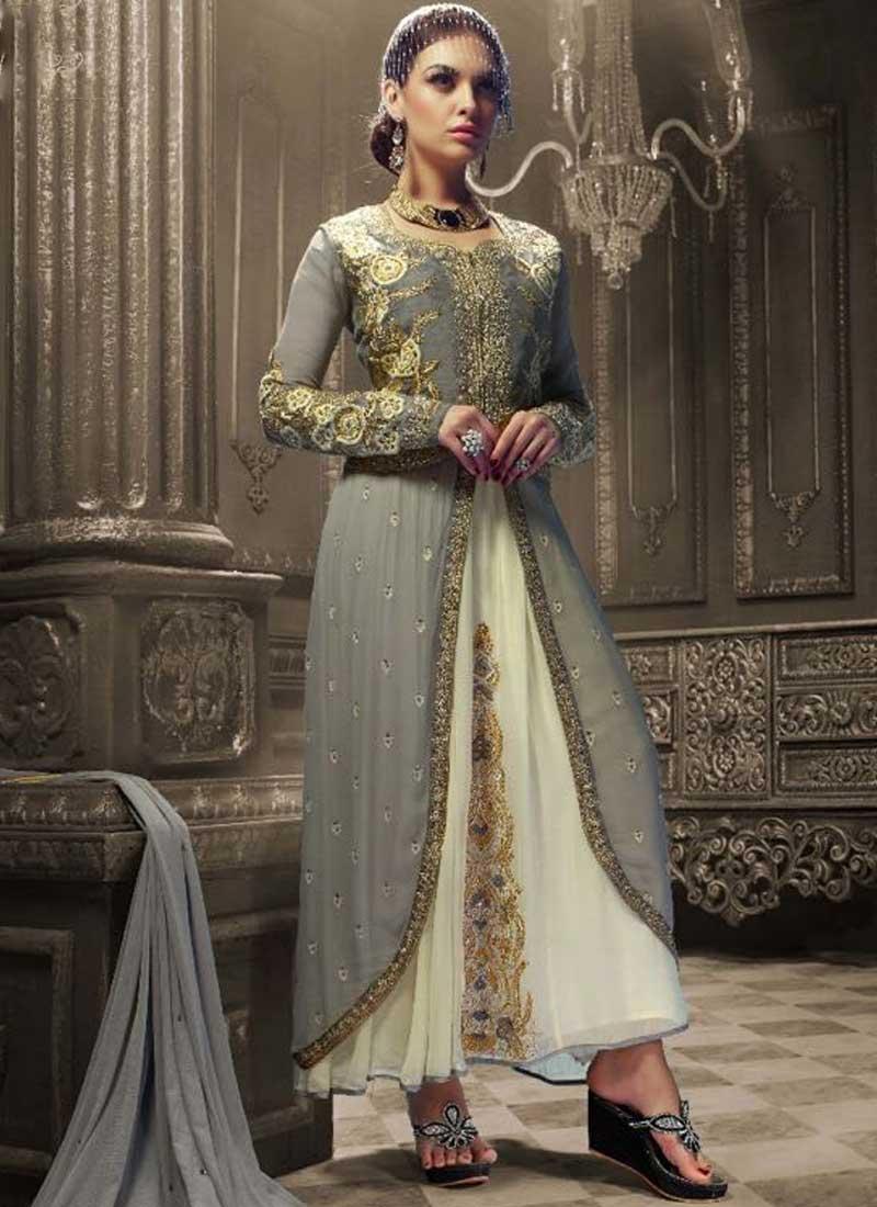 4f0553e321 Grey Embroidery Work Georgette Designer Party Wear Fancy Anarkali Suit