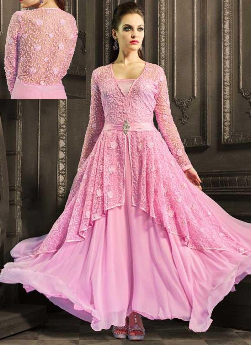 d30d035d617 Pink Embroidery Work Georgette Net Designer Party Wear Fancy Anarkali Suit