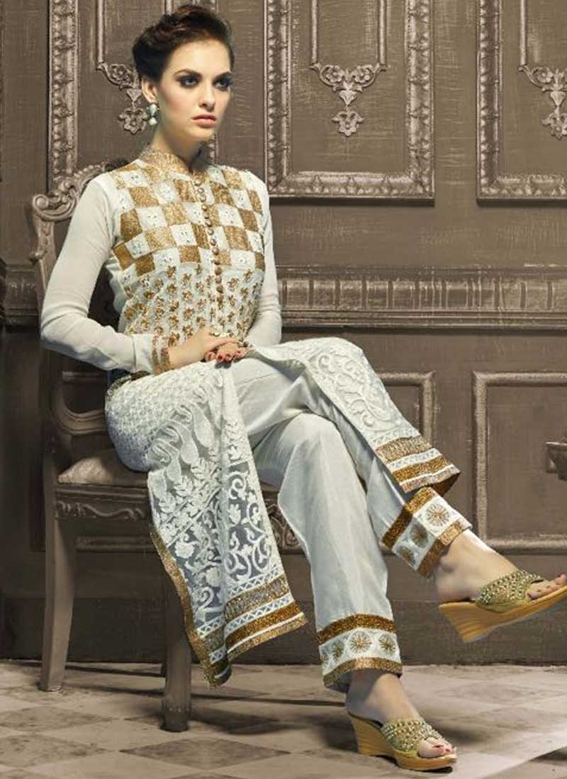 375106c08dfa8 White Embroidery Work Georgette Designer Party Wear Fancy Pakistani Suit