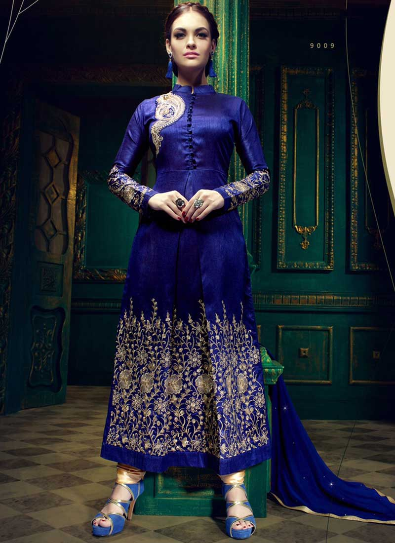 Exciting Royal Blue Banglori Silk With Work Salwar Suit. Online ...