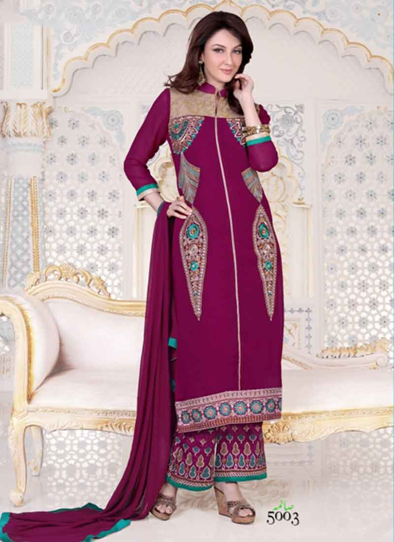 Alluring Purple Plazo Style Designer Pakistani Dress. Online ...
