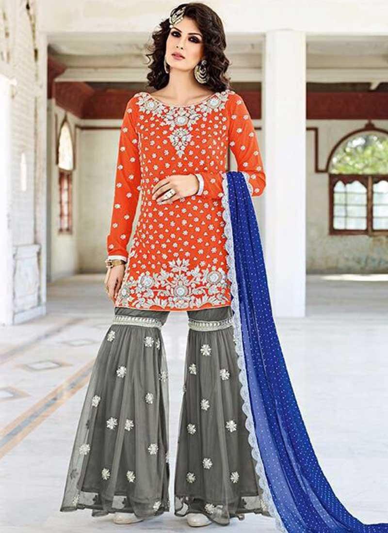 e2c4d73649 Orange Grey Zardosi Work Silk Chiffon Designer Wedding Pakistani Palazzo  Suit