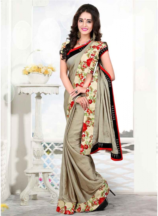 Beautiful Grey Stone Booti Work Chiffon Satin Party Wear Sarees