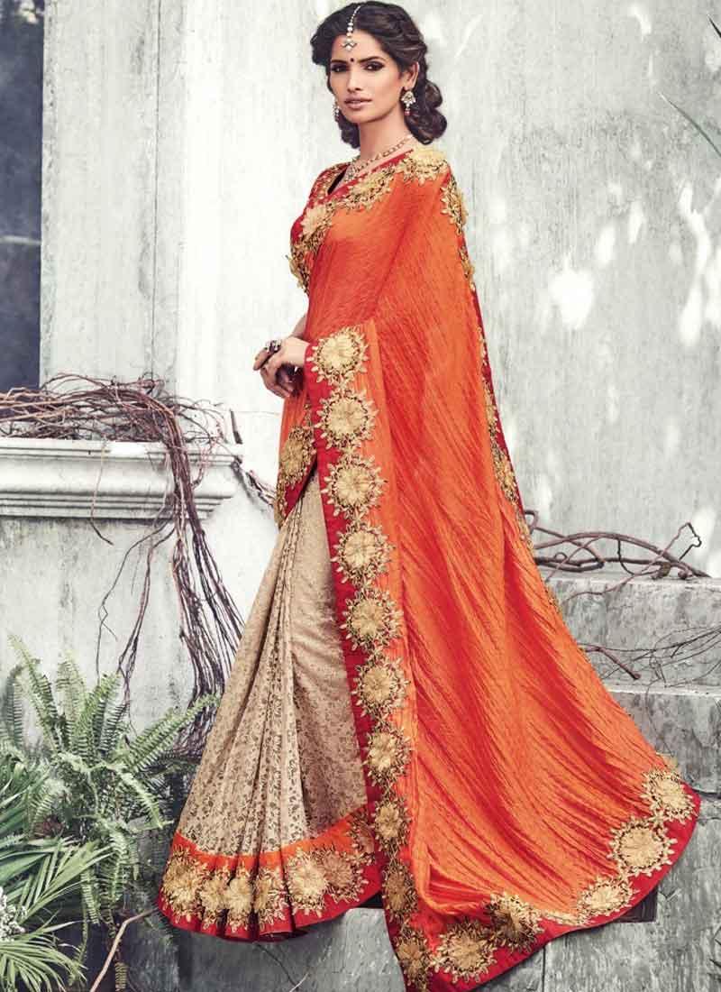 b948ff4fce1091 Charming Orange Beige Flower Cut Butta Work Fancy Prints Wedding Sarees