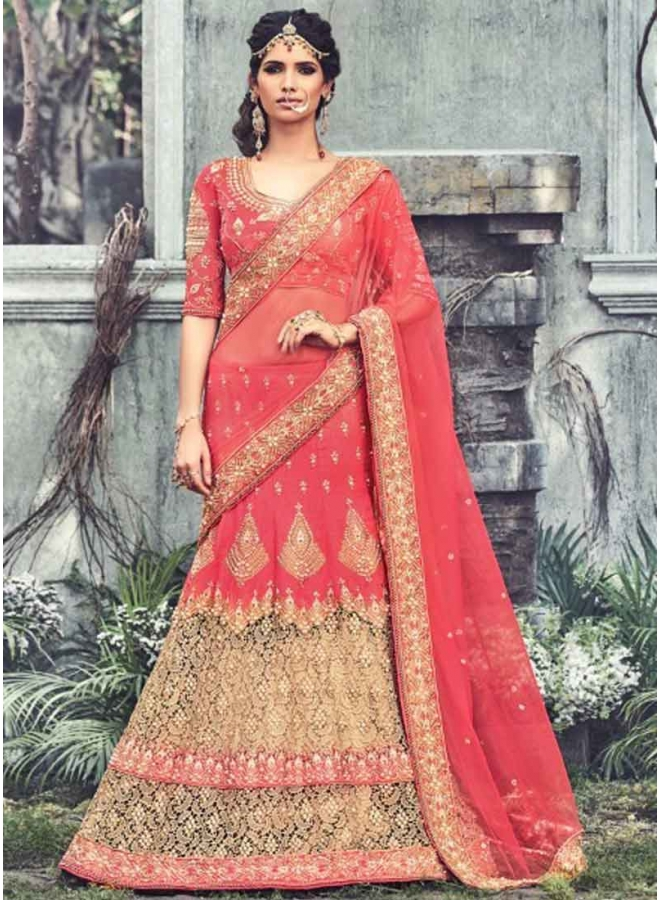 aa63281e53 Classy Hot Pink Stone Diamond Work Raw Silk Net Wedding Lehenga Sarees