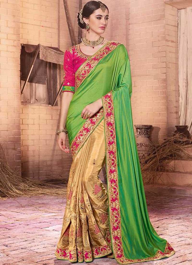 99c4a4a4ba Beige Green Embroidery Work Silk Georgette Designer Wedding Half Sarees