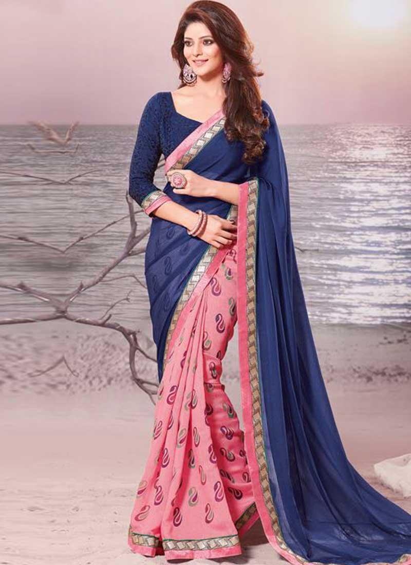 2c846ac096 Navy Blue Pink Border Lace Work Georgette Printed Fancy Half Designer Saree
