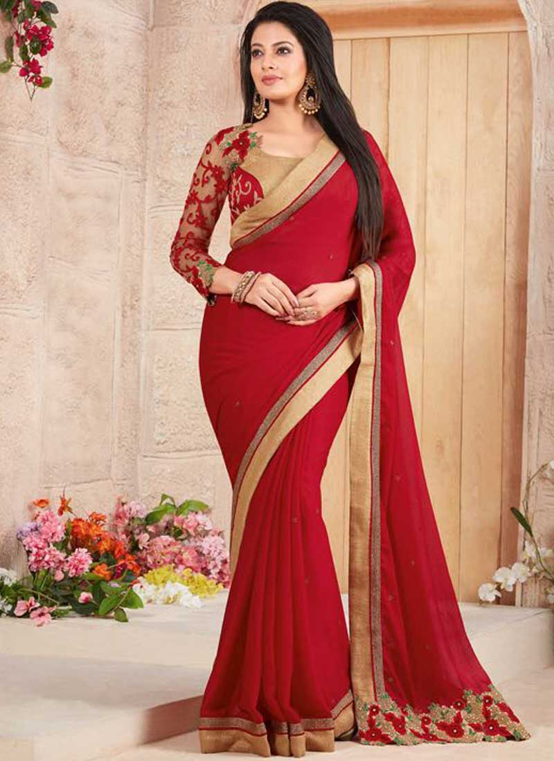 25f4151ee2 Red Embroidery Work Stone Work Fancy Fabric Designer Fancy Sarees ...