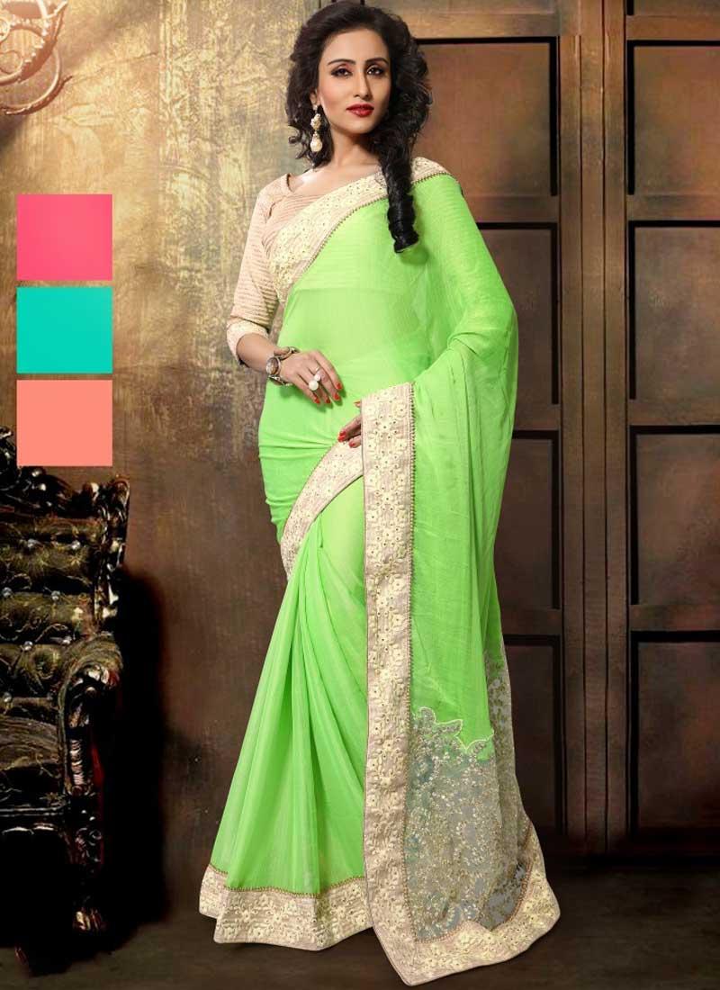Precious Parrot Green Sequin Work Slub Chiffon Designer