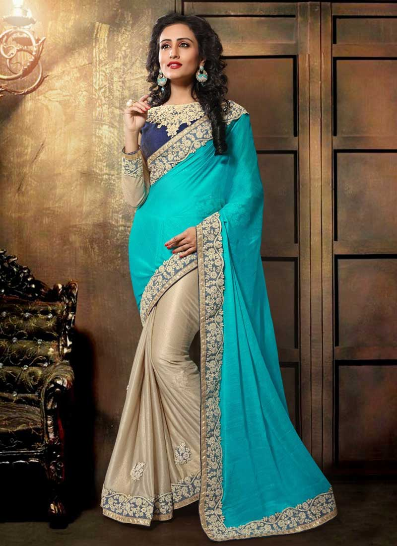 Sky Blue Cream Coading Embroidery Work Lycra Party Wear Half Sarees ...