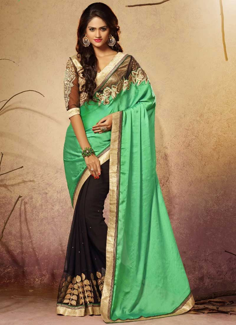 0b95a118d0efa0 Gorgeous Turquoise Black Embroidery Work Satin Georgette Designer Sarees