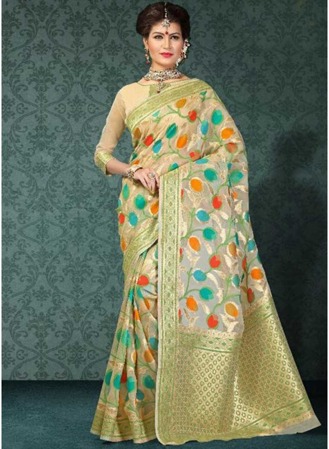 0dcf49bdd4 Beige Weaving Prints Banarsi Silk Designer Fancy Sarees Online. Buy ...