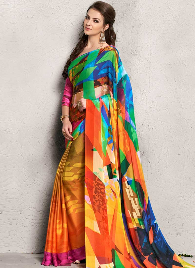 9cd172dc85a Latest Orange Printed Satin Georgette Casual Designer Sarees Online ...