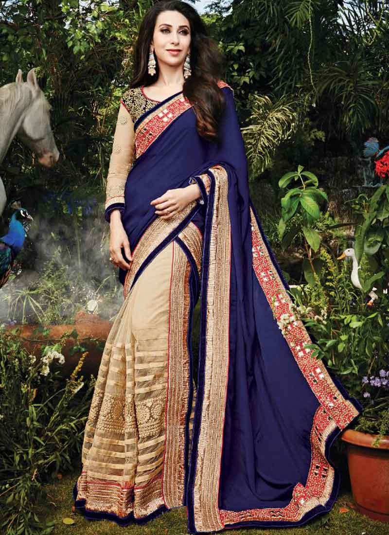 432ecbc640c Karishma Kapoor Blue And Beige Half And Half Net Silk Wedding Sarees ...