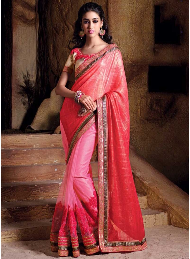 Amazing Pink Georgette And Net half an half Saree