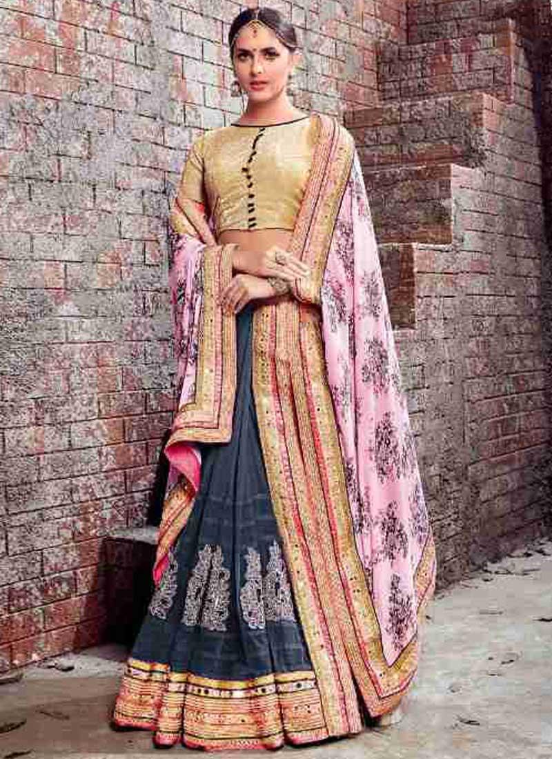 a390c368c4 Grey Pink Embroidery Work Chiffon Net Designer Fancy Wedding Lehenga Saree
