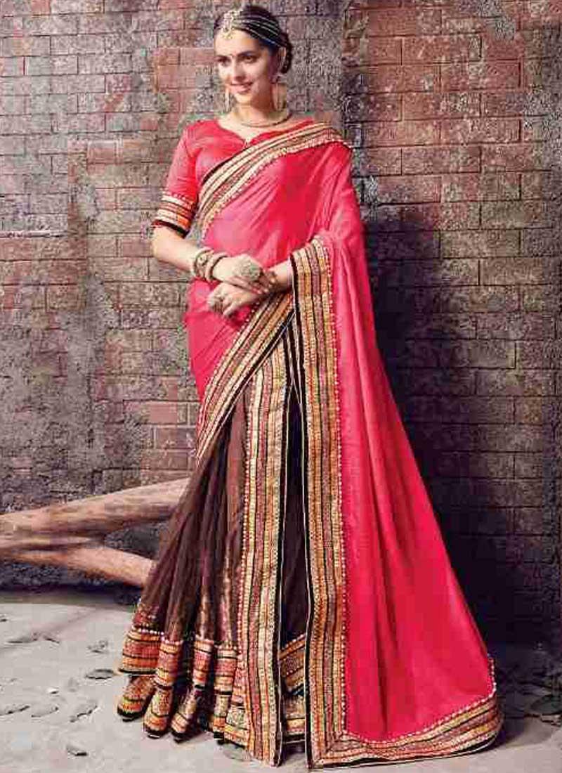 c0d7d4b7f0 Pink Brown Embroidery Work Chiffon Net Designer Fancy Wedding Lehenga Saree