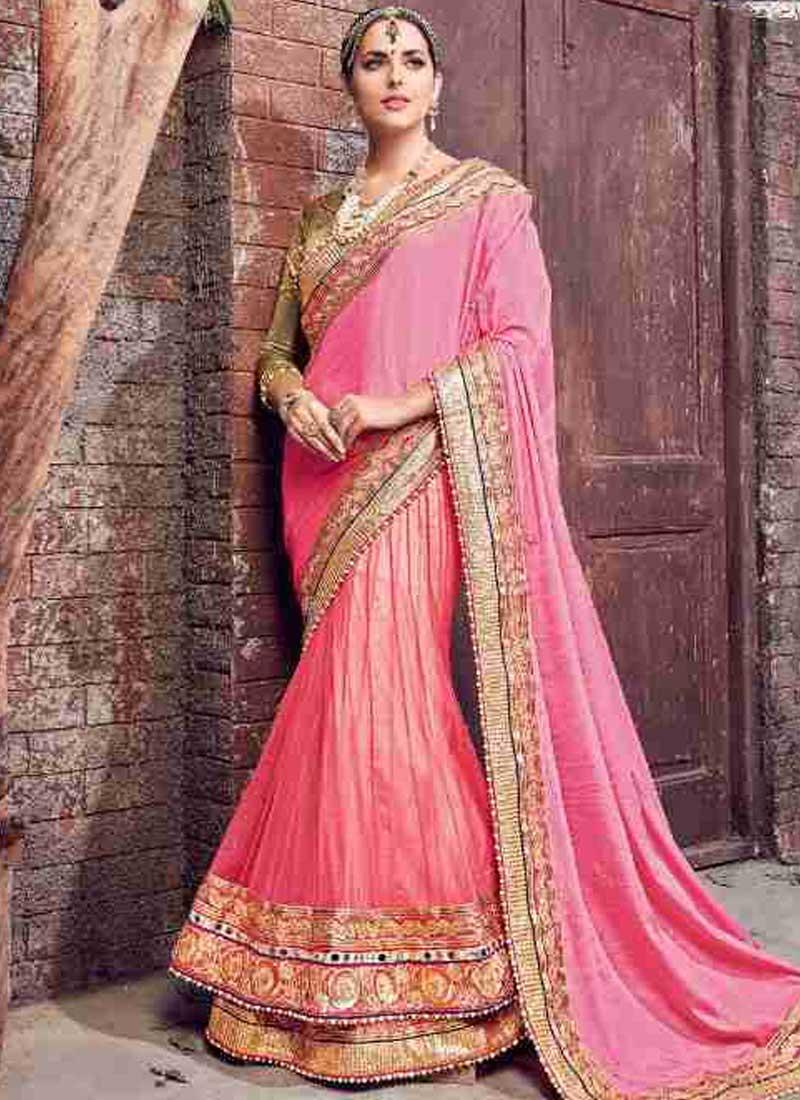 3e62e79bf1 Pink Embroidery Work Satin Chiffon Net Designer Fancy Wedding Lehenga Saree