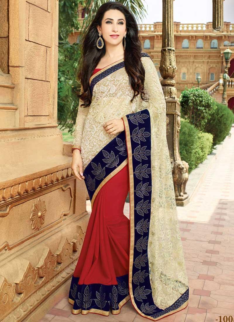 92fa33f93c Karishma Kapoor Off White And Maroon Net Georgette Replica Saree ...