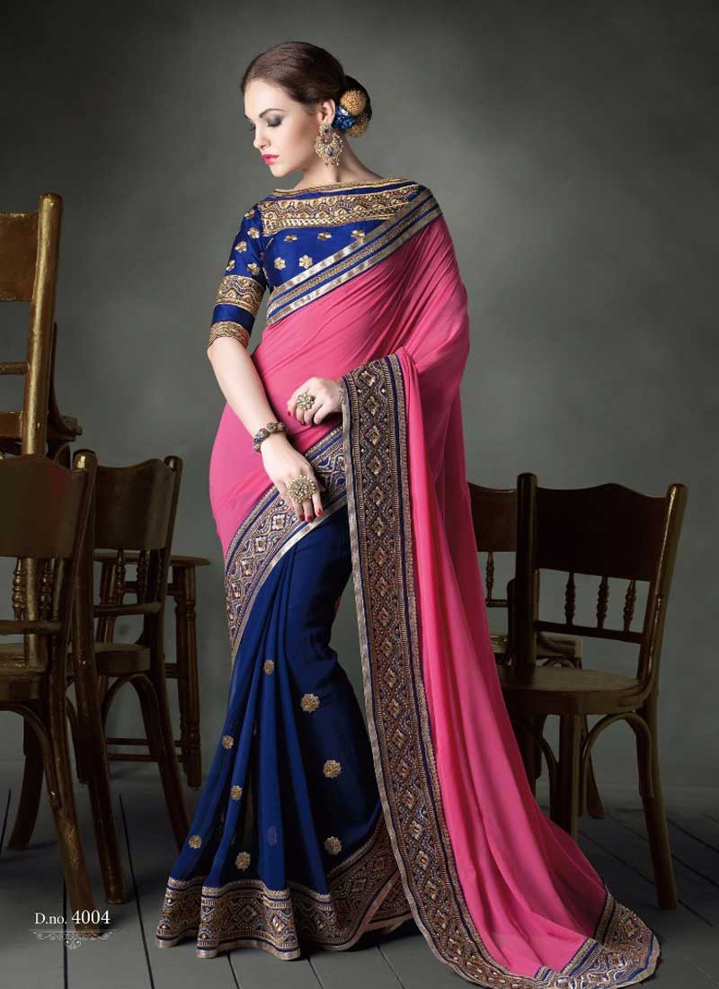 948bef083e Nice Pink And Blue Faux Georgette Embroidery Border Work Half N Half Saree
