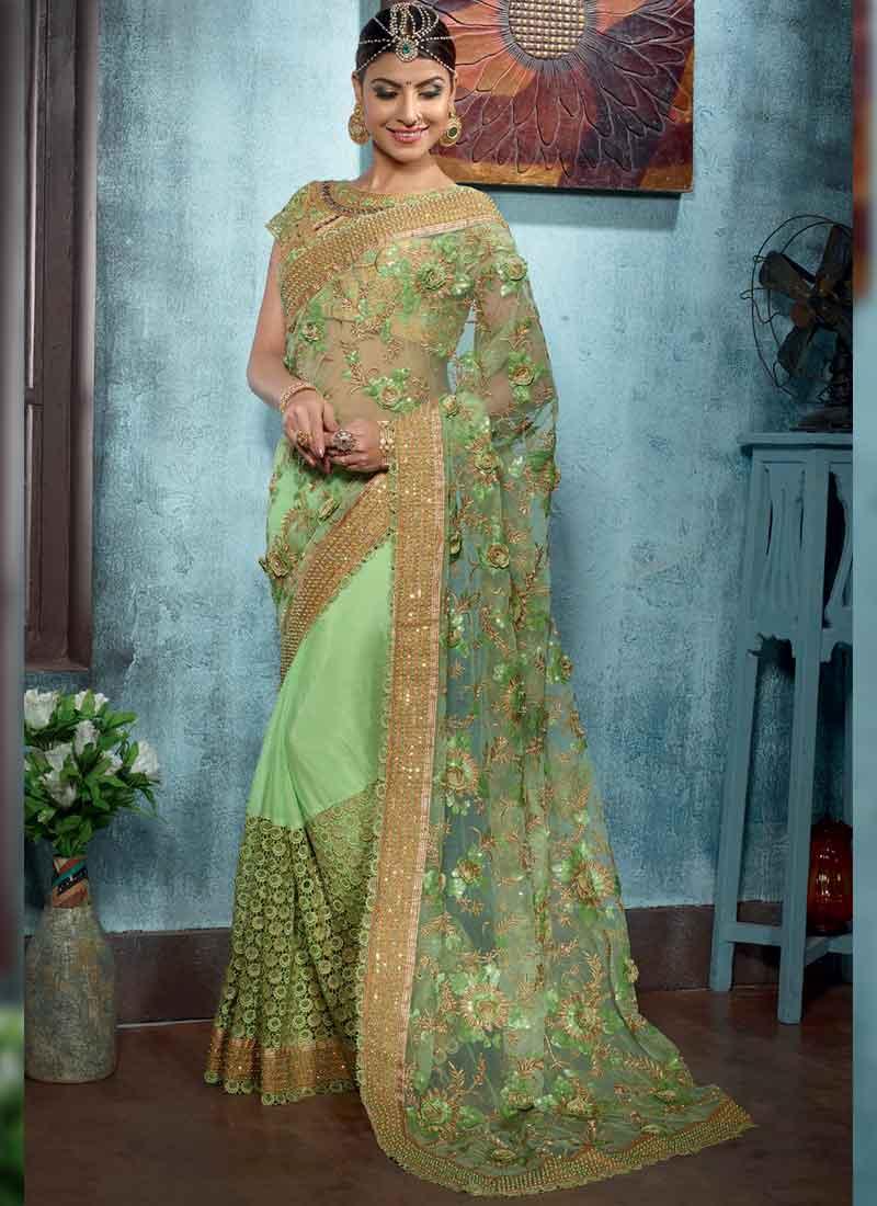 Pista Green Embroidery Sequin Work Net Chiffon Designer Wedding ...