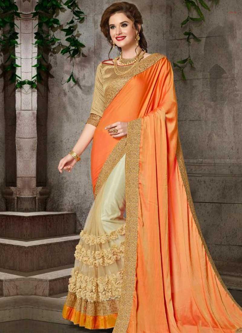 7a6a193032 Orange Beige Embroidery Work Silk Net Designer Fancy Party Wear Half Sarees