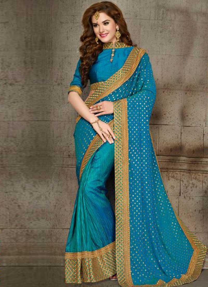 75efc1aac2 Sky Blue Embroidery Work Chiffon Silk Designer Fancy Party Wear Half Sarees