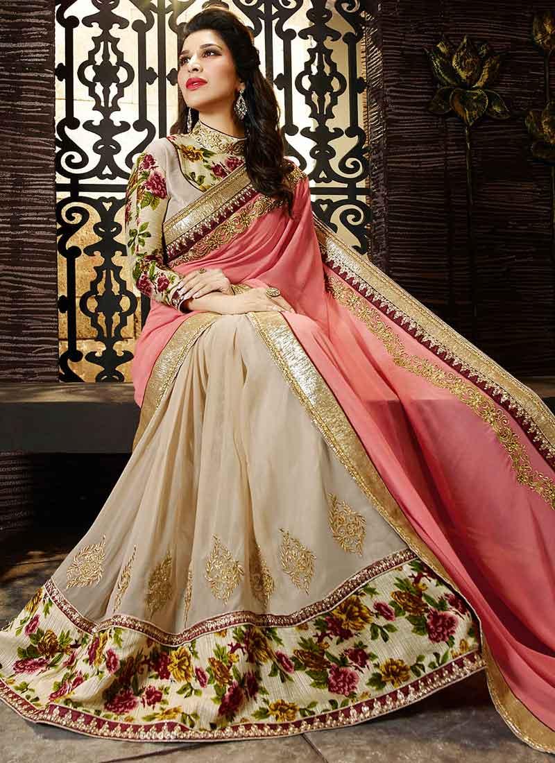 00aafee36 SOPHIE CHOUDRY CREAM AND PINK HALF N HALF SAREE.Silk sarees online ...