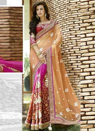 5df03a02785 Glossy Magenta And Orange Georgette Embroidery Work Half N Half Saree