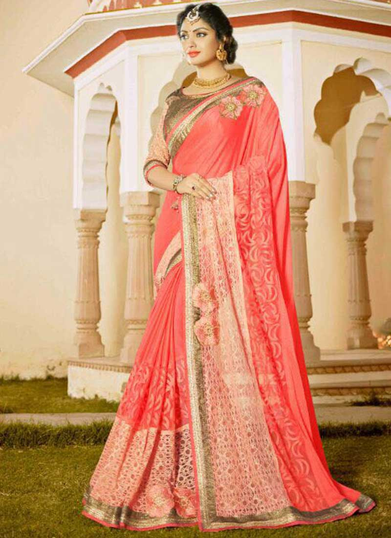 850ed5c25e Tomato Red Embroidery Work Georgette Jacquard Fancy Designer Wedding Sarees