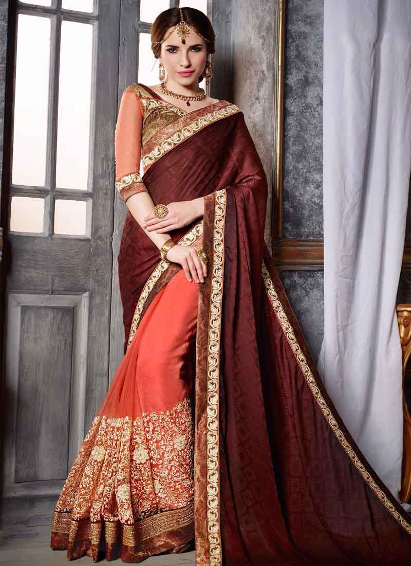 1b8606aa1 Wine Tomato Red Thread Work Net Fancy Fabric Designer Sarees.Online ...