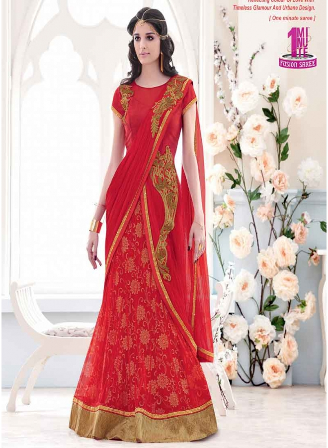 Stunning Red Net And Lycra Embroidery Stone Work Designer Silk Sarees