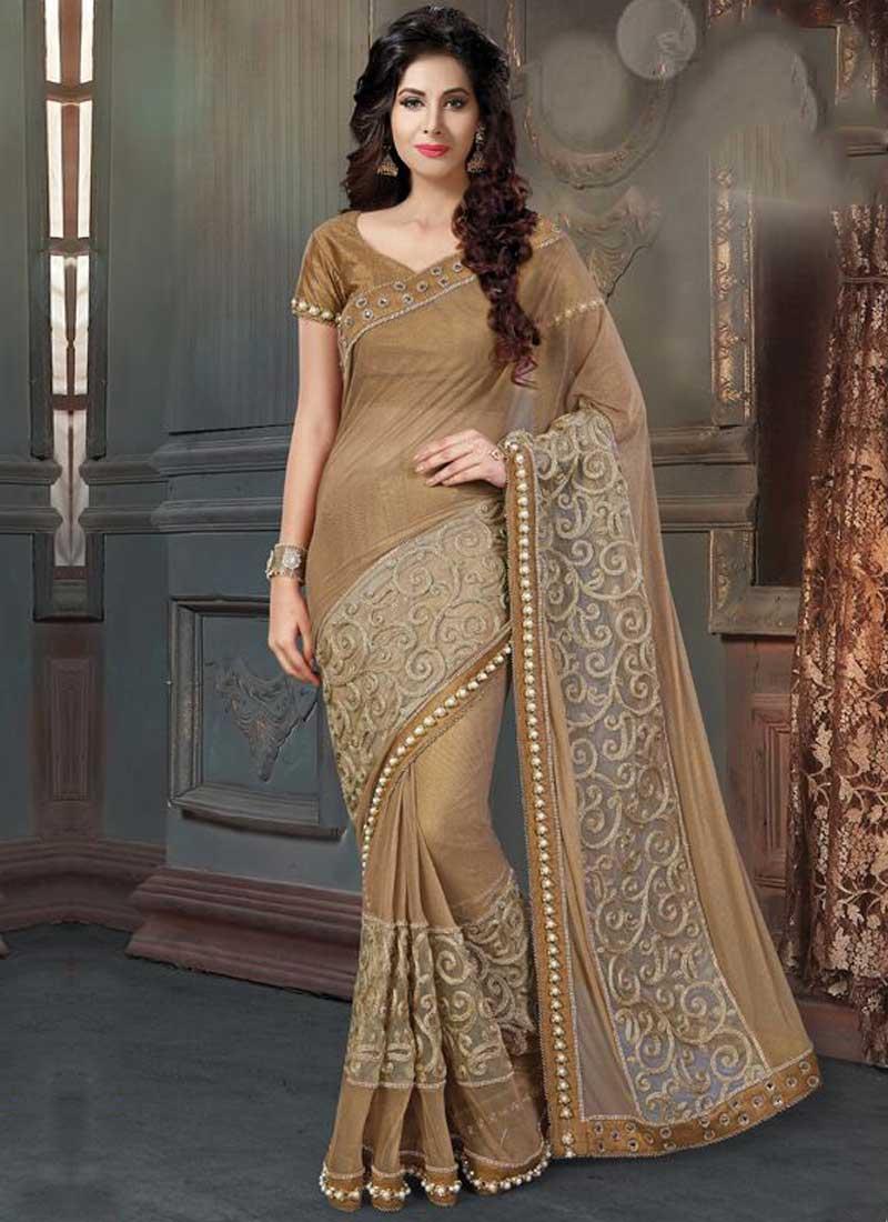 571d051975 Brown Embroidery Work Georgette Raw Silk Designer Wedding Fancy Sarees