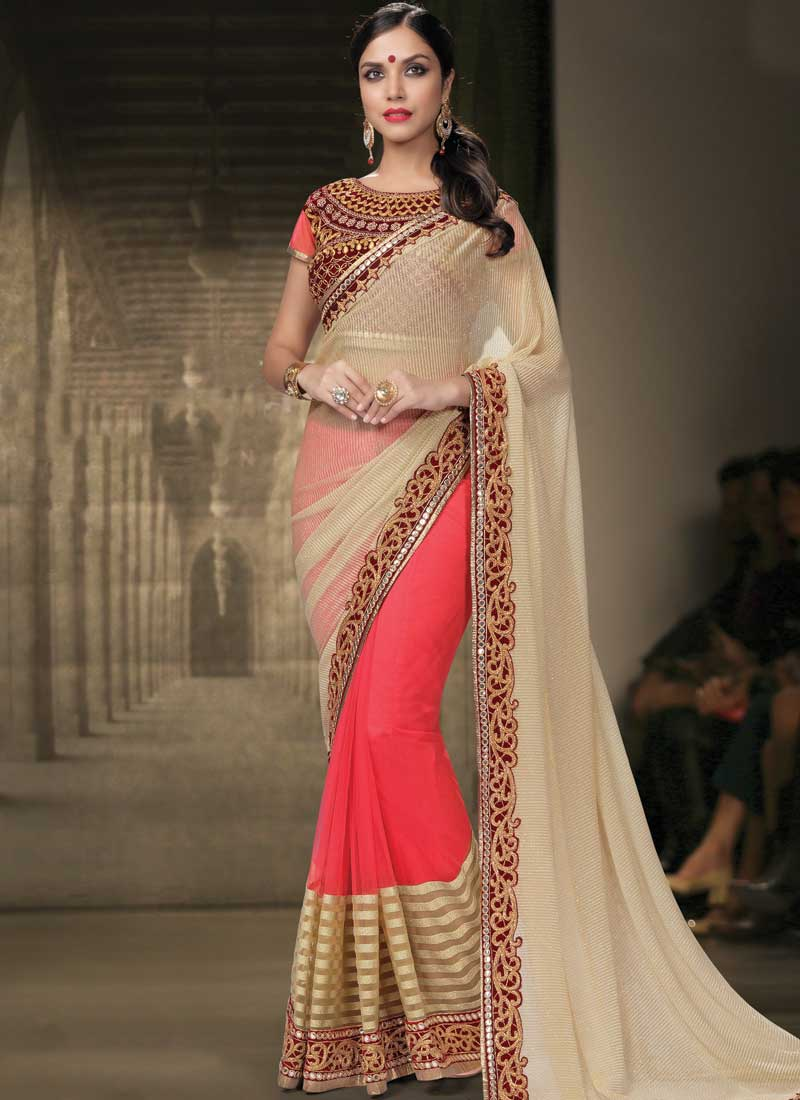 beige red mirror work zari work georgette glitter half designer wedding sarees