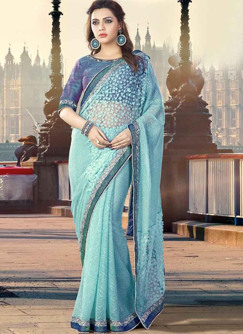 438d137a14 Sky Blue Embroidery Work Georgette Silk Designer Fancy Party Wear Half  Sarees