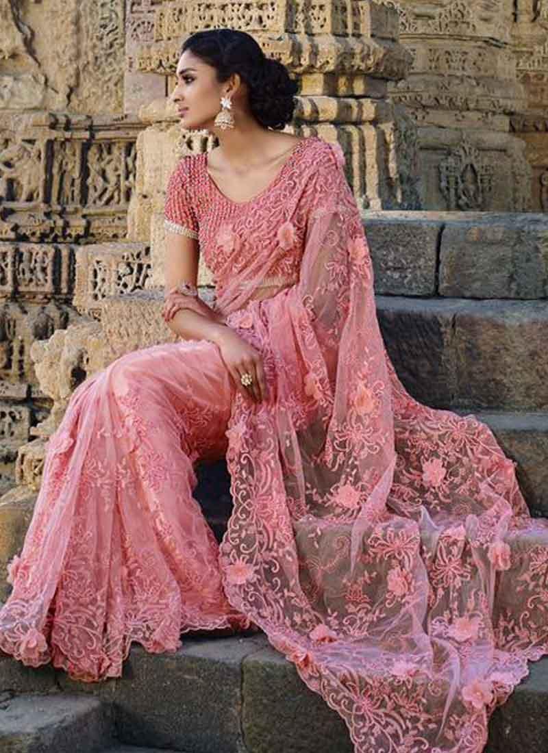 Peach Patch Work Diamond Net Bridal Designer Sarees