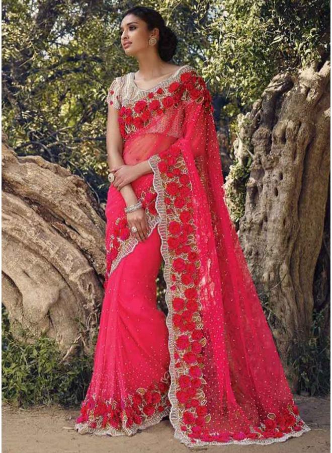 7fdb01d167 Rani Pink Moti Diamond Work Net Designer Wedding Sarees Online ...