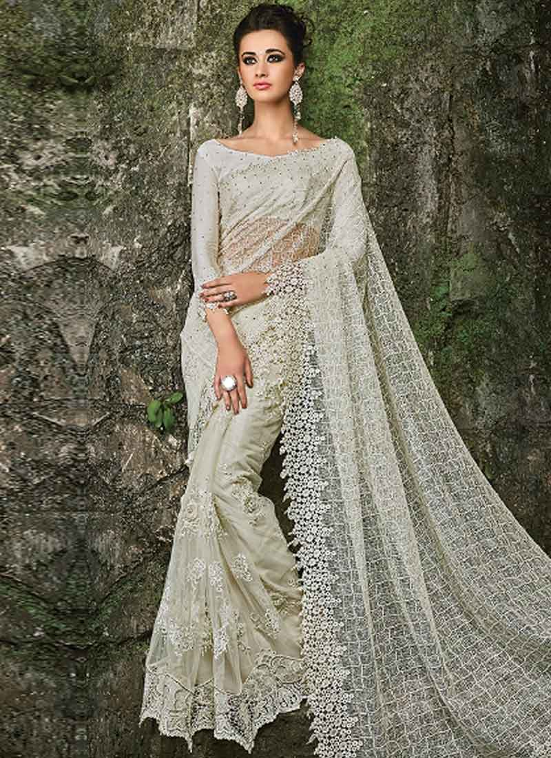 Off White Embroidery Work Fancy Fabric Designer Wedding Half Sarees