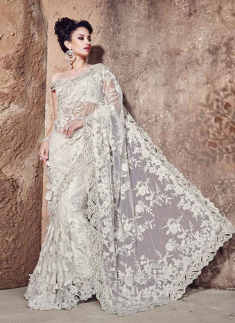 Super White Net Heavy Embroidery Work Wedding Saree Online Buy